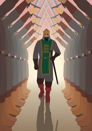 army boots: King, walking through lane.  Illustration