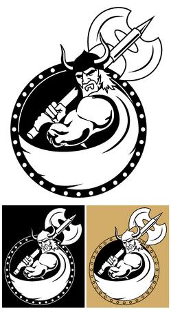 axe: Viking logo or mascot.