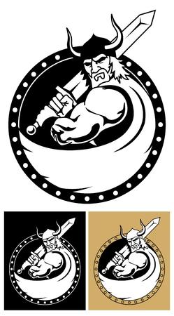 vikingo: Logotipo de Viking o mascota.  Vectores