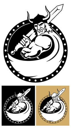 human mascot: Viking logo or mascot.