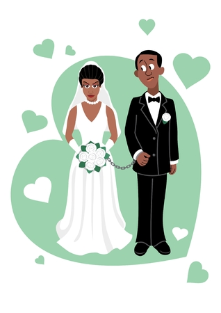 handcuffs woman: A young Afro couple.