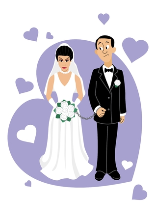 A young Asian couple.  Vector