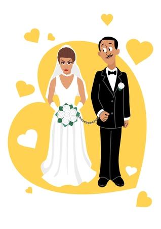 handcuffs woman: A young Hispanic couple.  Illustration