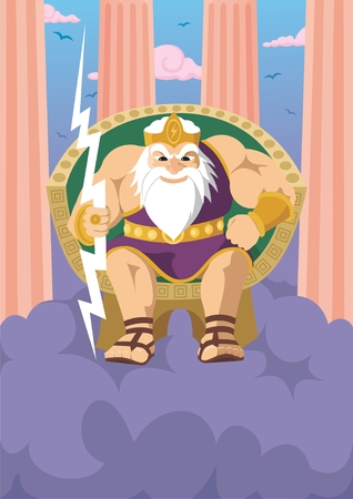 myth: Zeus  Jupiter, watching the Earth from the peak of mount Olympus.