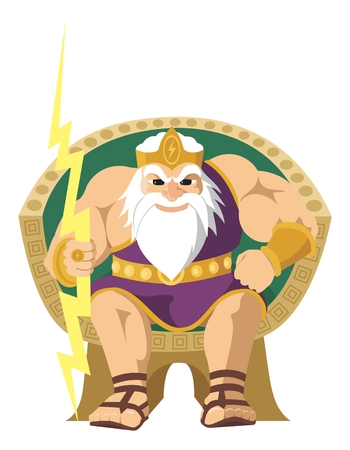 greek god: Dios del cielo, Zeus y J�piter, aislados en blanco.
