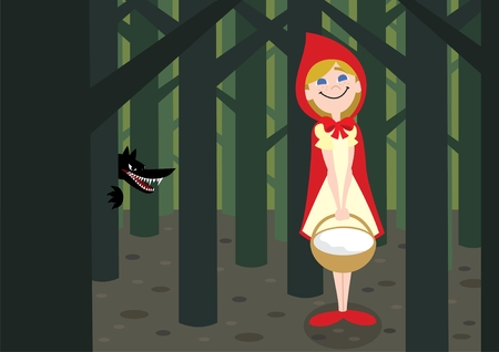 cartoon little red riding hood: The big bad wolf is after the Little Red Riding Hood Illustration