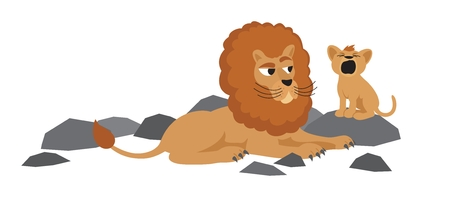 A baby lion is trying to roar. Vector
