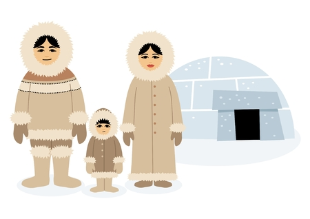 Eskimo family, posing in front of their igloo.   Each character as well as the igloo is grouped separately, so you can easily rearrange the composition in the vector file. No transparency and gradients used.  Illustration