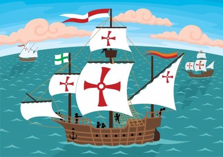 columbus: Los barcos de Crist�bal Col�n en su camino a los Estados Unidos.  Quitar las cruces y obtendr� tres barcos de vela ordinario. Sin transparencia y degradados que se utiliza en el archivo vectorial. Vectores