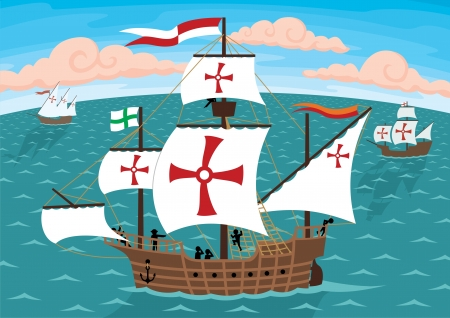 ordinary: The ships of Christopher Columbus on their way to America.  Remove the crosses and you will get three ordinary sail ships. No transparency and gradients used in the vector file. Illustration
