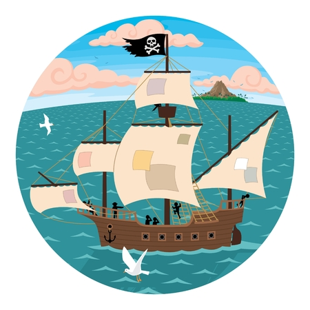 A pirate ship, seen through spyglass.  No transparency and gradients used in the vector file. Vector