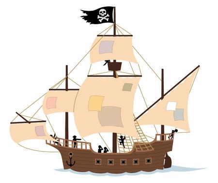 barco pirata: Un barco pirata, aislado en blanco.  Retire las revisiones de las velas y el Jolly Roger, y obtendr� un barco de vela ordinario. Sin transparencia y degradados que se utiliza en el archivo vectorial. Vectores