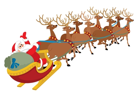 Santa Claus with his reindeers isolated on white.