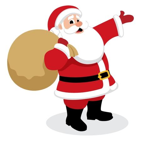 �santaclaus: Santa Claus, presentar algo.  Sin transparencia y degradados que se utilizan en el archivo vectorial.