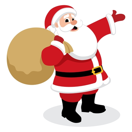 cartoon santa: Santa Claus, presenting something.  No transparency and gradients used in the vector file.