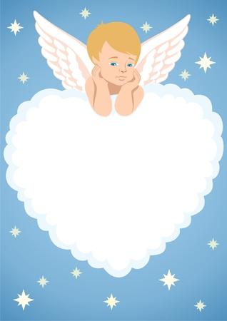 amor: Cupid, liegend auf einer Wolke, wie ein Herz geformt.  Sie k�nnen Text oder ein Bild in der Wolke platzieren.  Keine Transparenz in der Vektordatei verwendet.   Illustration