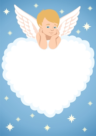 Cupid, lying on a cloud, shaped like a heart.  You can place text or picture in the cloud.  No transparency used in the vector file.   Illustration