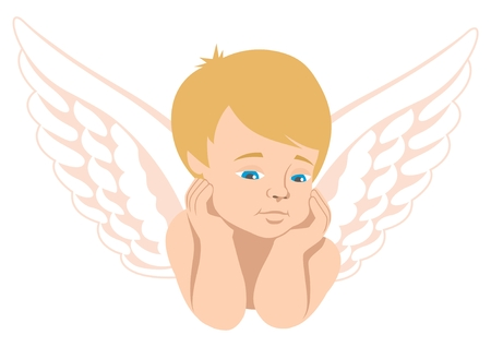flirting: Cupid, isolated on white. You can easily move his eyes to whatever direction you like in the vector file.  No transparency used in the vector file.