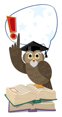 Professor Owl is telling you something. You can easily remove the comic bubble or just the exclamation mark in the  file.   No transparency and gradients used.  Stock Vector - 6339965