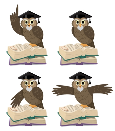 Professor Owl in 4 different poses, for different purposes    Vector
