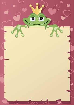 the frog prince: A Frog Prince is holding a love letter to his beloved princess. Place your greeting in the blank space.    No transparency used.