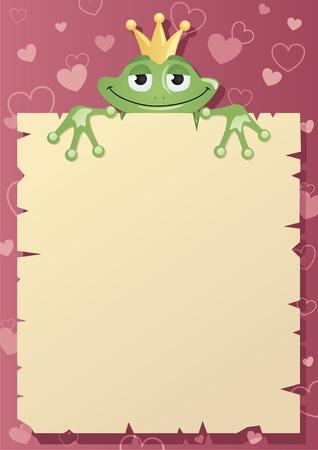 sapo principe: Un pr�ncipe rana est� celebrando una carta de amor a su amada princesa. Coloque su saludo en el espacio en blanco.    No utilizada la transparencia.  Vectores