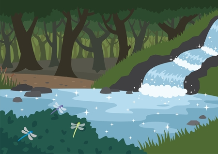 Forest stream.  No transparency and gradients used.   Vector
