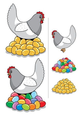 laying egg: A hen laying some eggs � golden or painted for Easter. You choose! You can also use the eggs or the hen separately. No transparency and gradients used. Illustration
