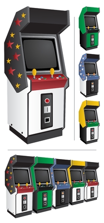 other space: Arcade game machine in 4 different color versions. They can be placed side by side, like those at the bottom of the picture. Place the name of the game, or other text, in the blank space above the screen. No transparency used. Illustration