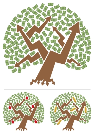 below: Abstract picture of investment portfolio depicted as a money tree. Below are 2 different versions, for real estate and for gold investing. No transparency and gradients used.  Illustration
