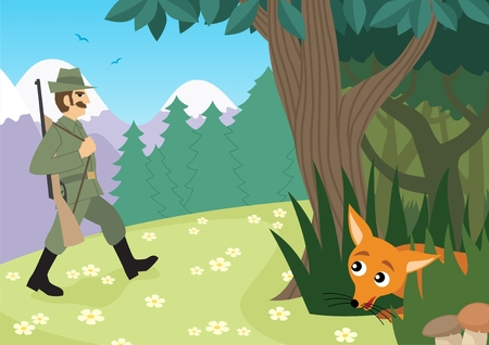 A hunter is going in the forest. No transparency used.  Vector