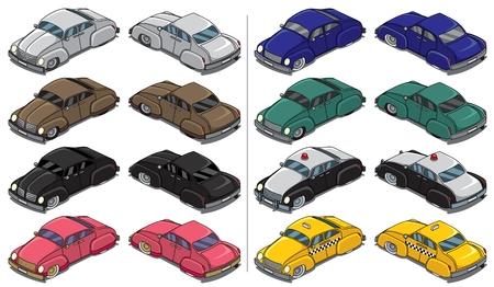 tiges: Collection de voitures retro 8. Illustration