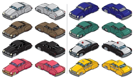 Collection of 8 retro cars. Vector