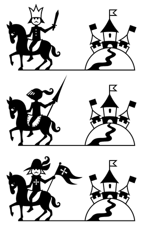 Stylized picture of prince, knight and musketeer and their castle. You can use them as logo, or decoration. You can also enlarge the blank space between the character and the castle, and put a title or other text in it.  Vector