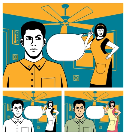 Comic book picture of arguing couple. Below is the same picture, colored in 2 different ways.  No transparency and gradients used. Stock Vector - 6496161