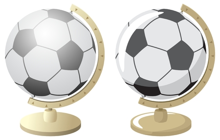 Abstract illustration for a footballsoccer world championship. The same globus is drawn in 2 versions � with and without gradients. No transparency used. Basic gradients used.  Vector
