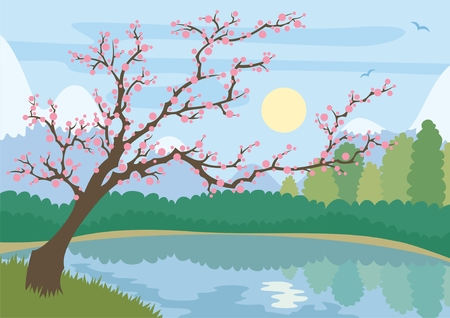 Cartoonish landscape of a mountain lake and blossoming tree. No transparency and gradients used.  Vector