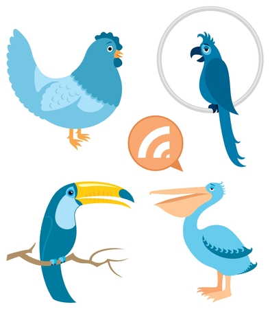 4 blue birds.  No transparency and gradients used.