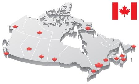 Carte 3D du Canada, montrant les capitales des provinces et des territoires, ainsi que les frontières. Les capitales, ainsi que les frontières, sont sur des calques distincts. Vous avez le drapeau canadien en plus de la carte, dans le cas où vous en avez besoin.