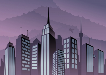 Cartoon city. Basic (linear) gradients used. No transparency.  Vector