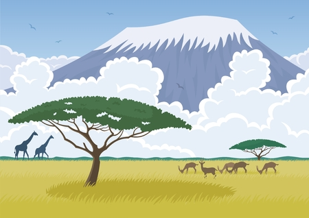 African landscape with the savannah and Mt Kilimanjaro in it. No transparency used. Basic (linear) gradients used for the sky.  Vector