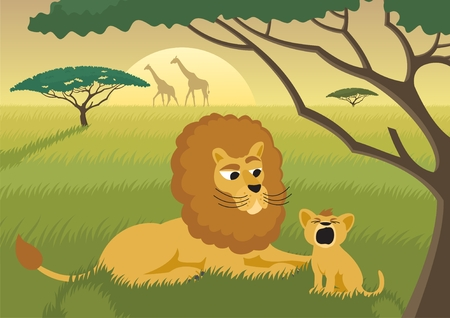 The King of the animal kingdom is teaching the young successor to the throne how to roar. No transparency used. Basic (linear) gradient used for the sky.  Vector