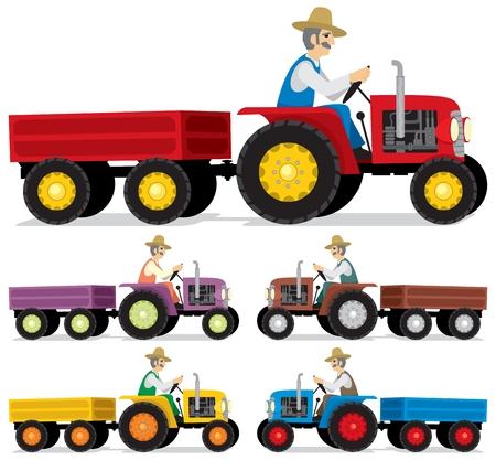 Boer, een oude tractor rijden.  Vector Illustratie