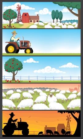 5 farm landscapes. Stock Vector - 6840437