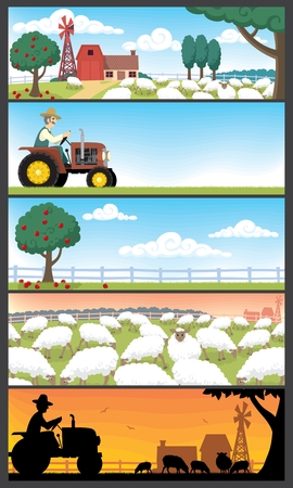 old farmer: 5 farm landscapes. Illustration