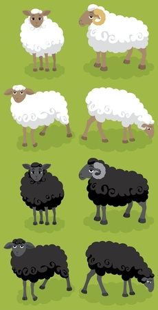 Cartoon black and white sheep. You can arrange your own flock with them. :)   Vector