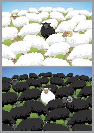 Oveja negra en blanca de la manada y ovejas blancas en manada negro.  Se ha utilizado el negro enriquecido, así como negro normal. Ilustración de vector
