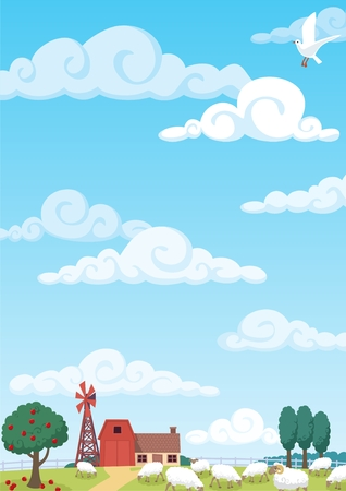 Cartoon farm background. No transparency used. Basic (linear) gradient used for the sky.   Stock Vector - 6845566