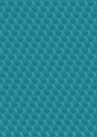 Background with sea waves. A4 proportions. The pattern is seamless, so you can make it as large as you need it to be. No transparency used. Basic (linear) gradients used.  Vector
