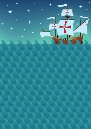Background with sea waves and a sail ship. You can remove the croses or replace them with a logo. A4 proportions. The picture is also a seamless pattern and you can multiply it horizontally.  Vector